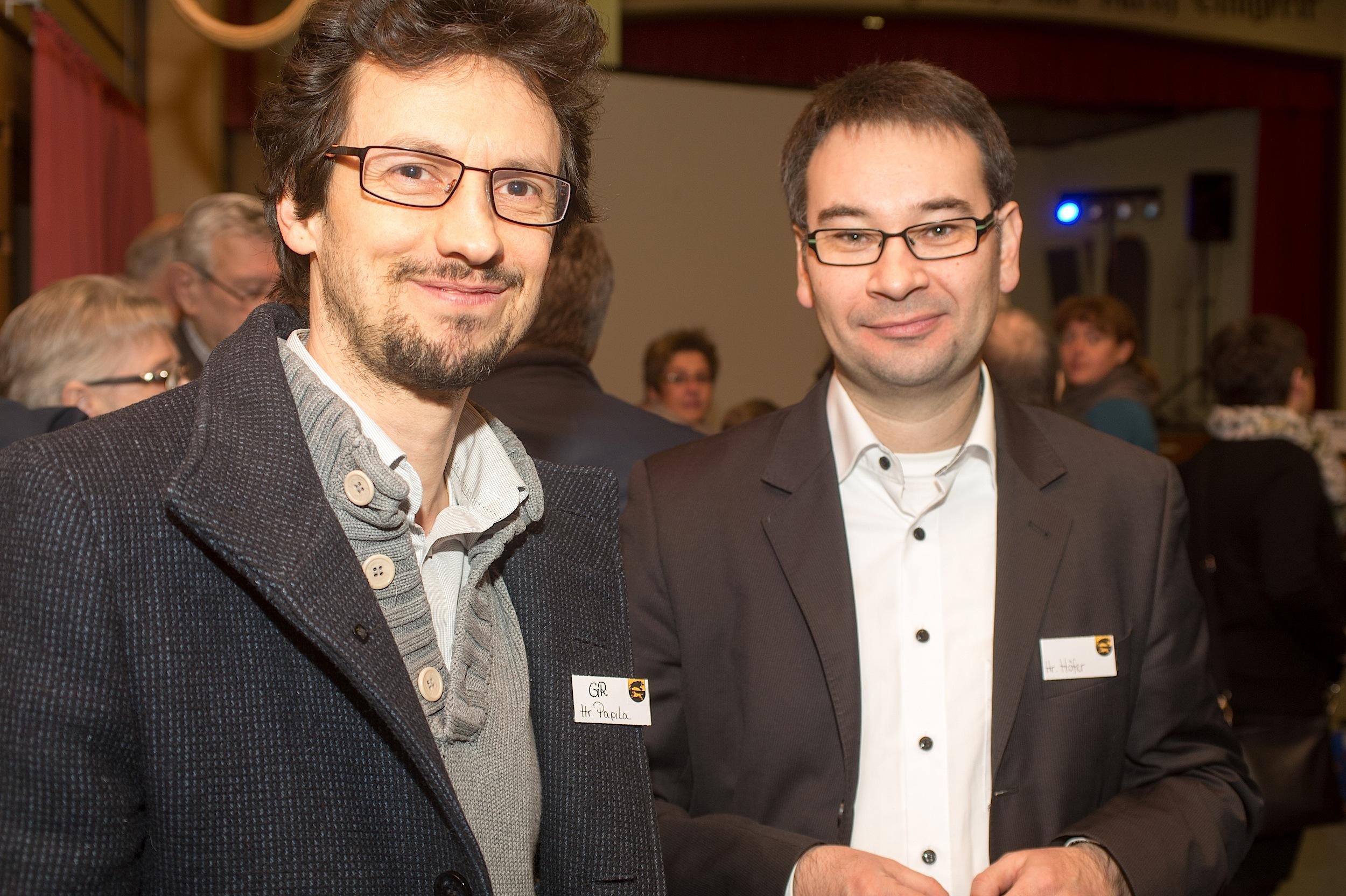 Neujahrsempfang Adelberg 2016. Gemeinderat Ahmet Papila (li) und Geschäftsführer Markus Höfer, der das Klosterparkgelände erwarb.