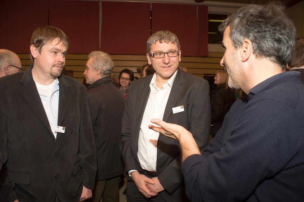 ADELBERG, 22 Jan 2016 - Neujahrsempfang Adelberg 2016. Geschäftsführer Bernd Müller (mitte) mit den Adelberger Gemeinderäten Peter Regelmann (re.) und Alexander Scholz.